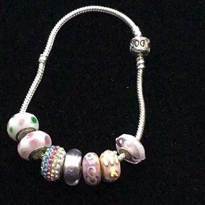 Jewelry - NWOT .925 Sterling bracelet w/ Murano glass beads